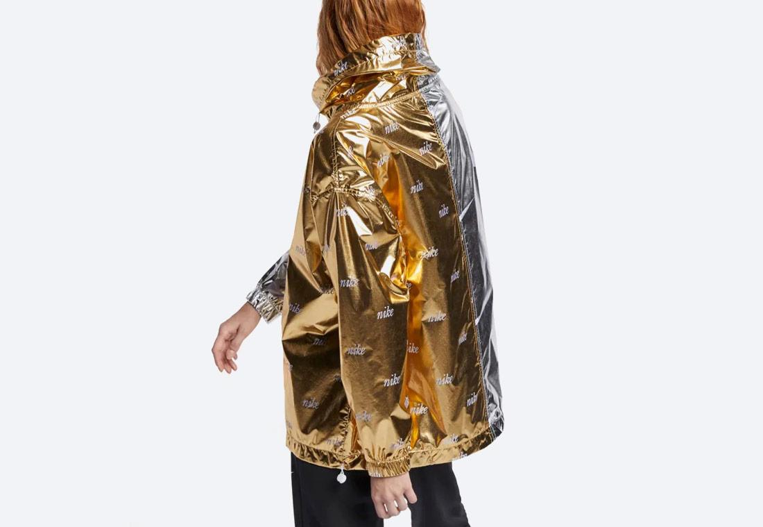 Nike Sportswear Metallic Jacket — sportovní bunda s kapucí — zlatá, stříbrná — metalická — dámská