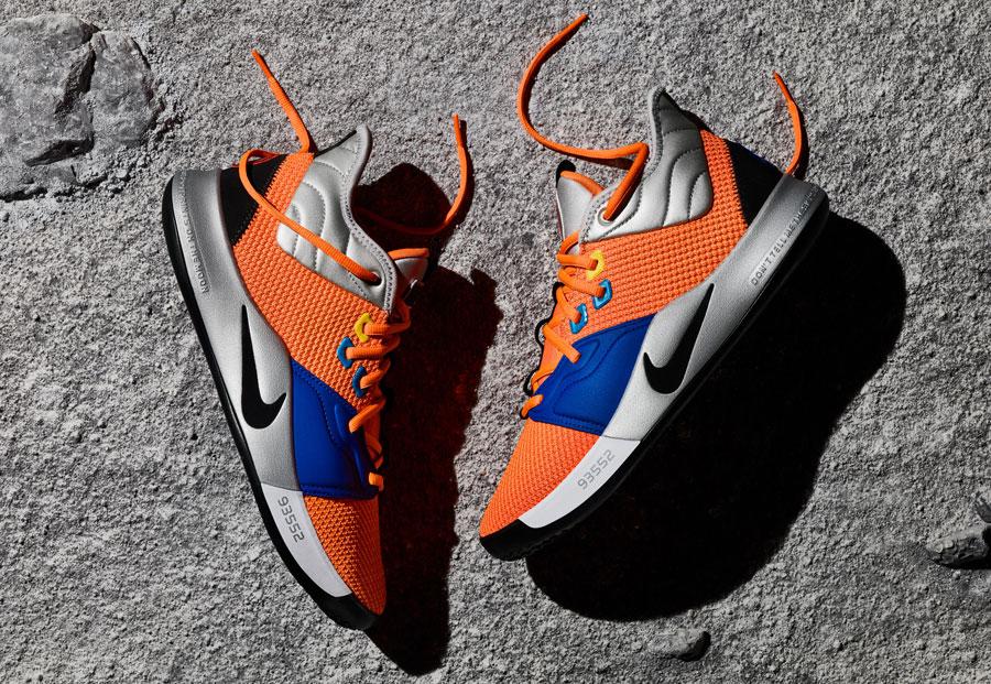 Nike PG3 — Paul George — basketbalové boty — kotníkové — oranžové — NASA