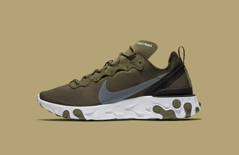 Nike React Element 55 — boty — pánské — sneakers — zelené, olivové, army green
