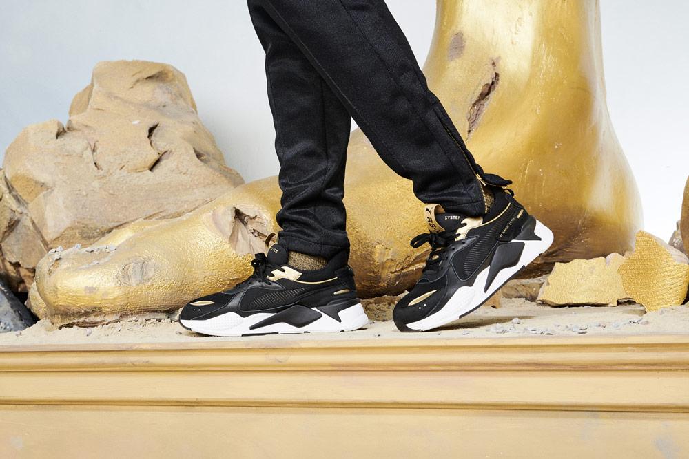 Puma RS-X Trophy — Black Gold — tenisky — černé se zlatými detaily — boty — sneakers — look