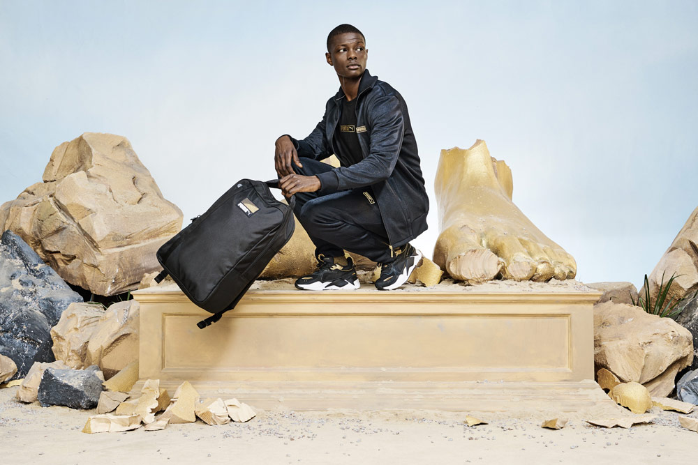 Puma RS-X Trophy — Black Gold — boty — černé se zlatými detaily — tenisky — sneakers — look