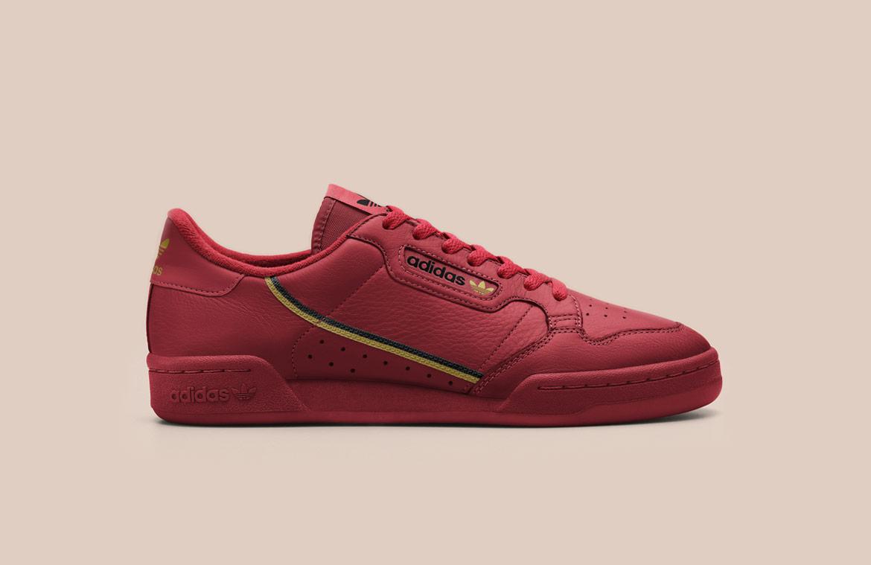 adidas Originals Continental 80 — tenisky — boty — pánské, dámské — sneakers — červené