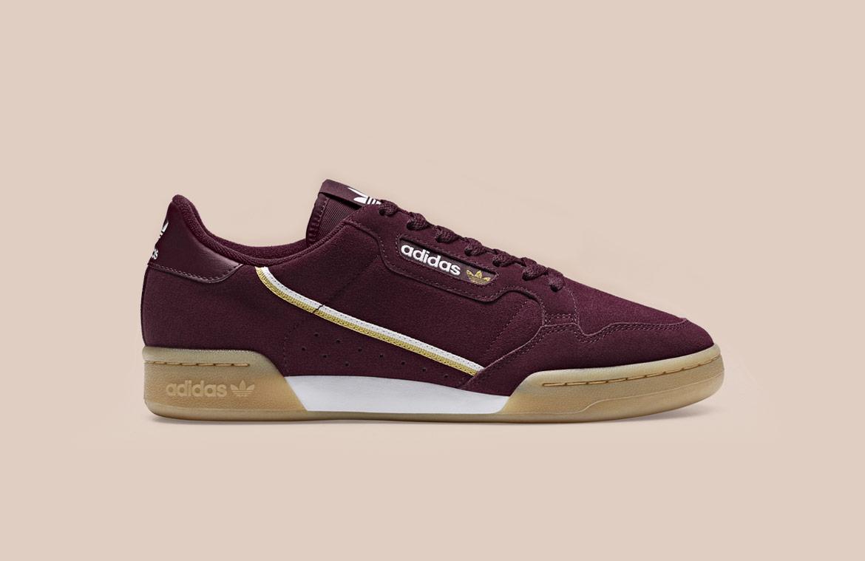 adidas Originals Continental 80 — tenisky — boty — pánské, dámské — sneakers — tmavě červené, bordó, vínové