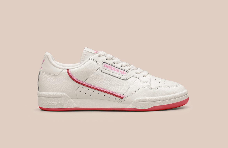 adidas Originals Continental 80 — boty — tenisky — pánské, dámské — sneakers — bílé, červené detaily