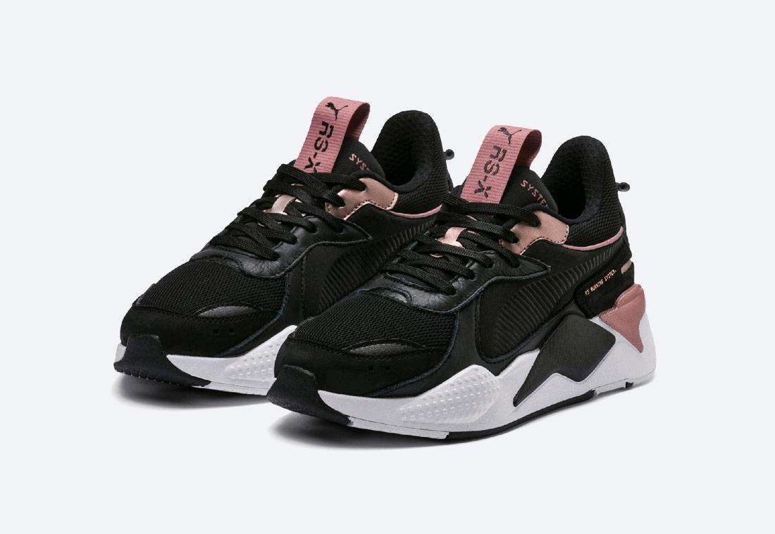 Puma RS-X Trophy — Black-Rose Gold — boty — černé s bronzovými detaily — tenisky — sneakers