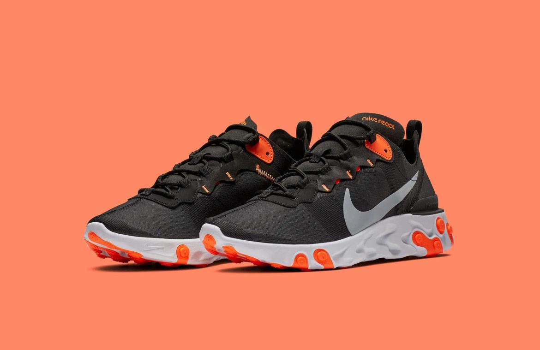 Nike React Element 55 — boty — pánské — sneakers — černé, oranžové detaily