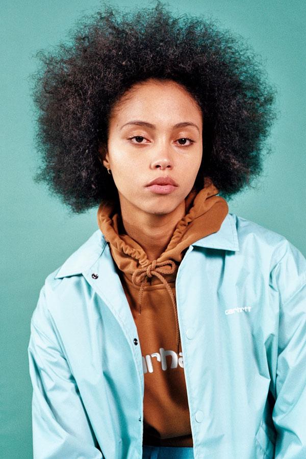 Carhartt WIP — světle modrá jarní bunda s límcem — dámská — lookbook jaro/léto 2019