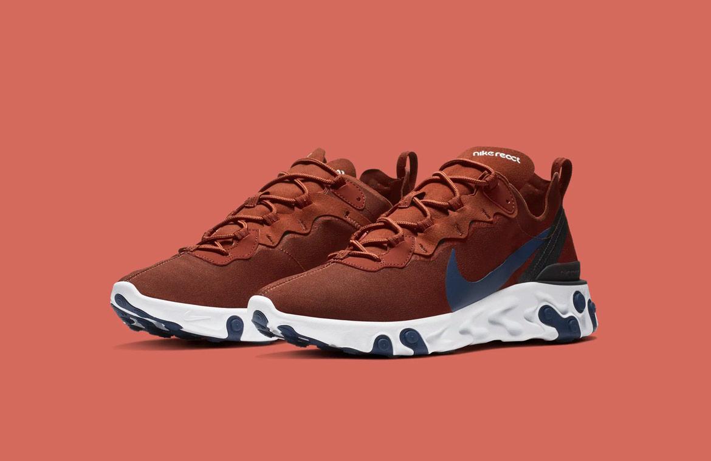 Nike React Element 55 — boty — pánské — sneakers — vínově červené, bordó