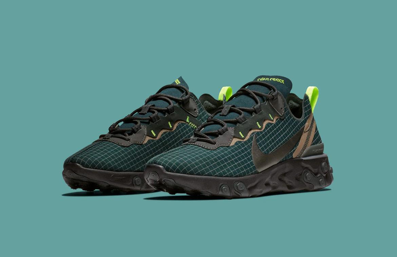 Nike React Element 55 — boty — pánské — sneakers — modré/zelené