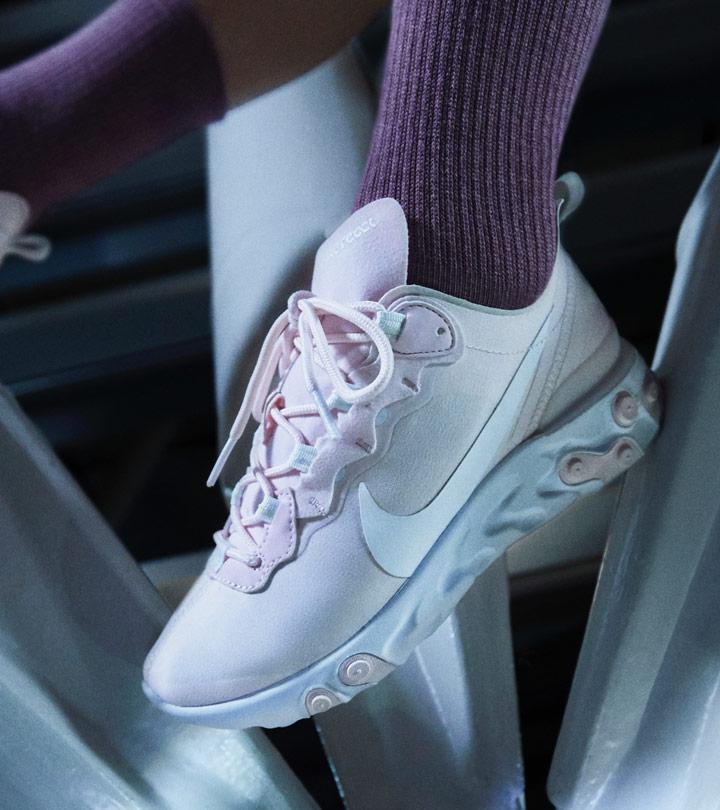 Nike React Element 55 — boty, dámské, bledě růžové — look 4