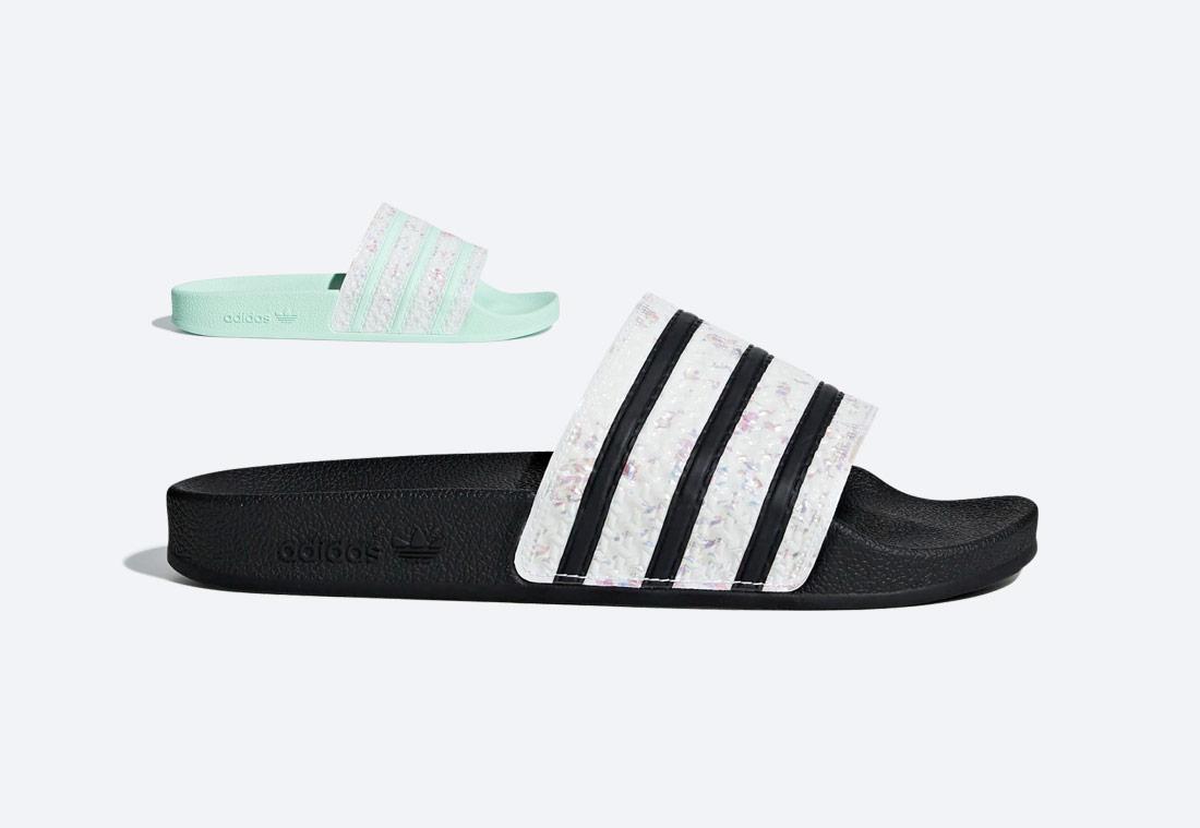 Pantofle adidas Adilette s perleťovým efektem — dámské