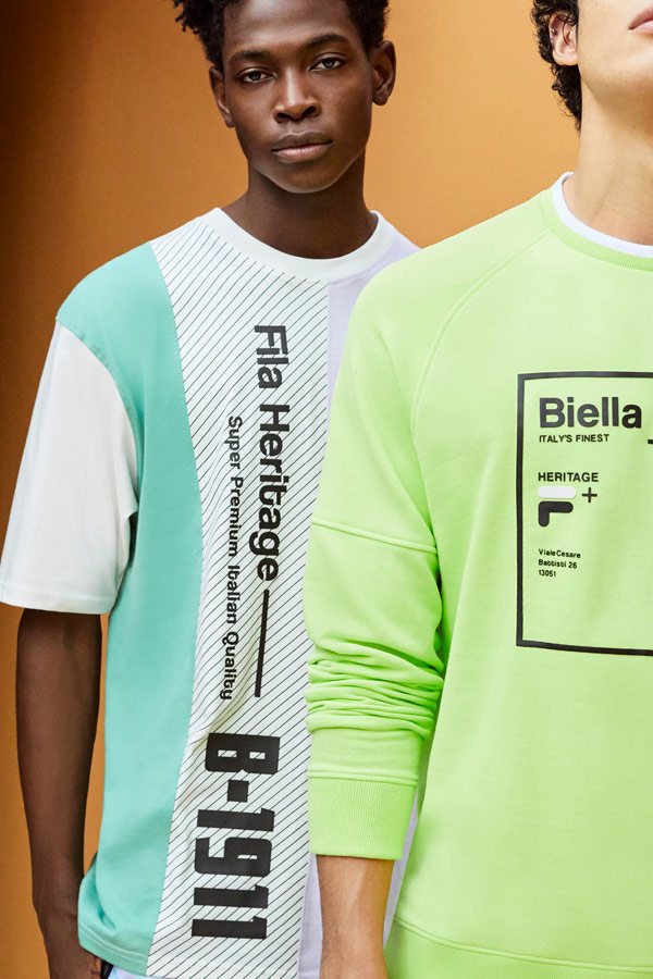 Fila — zeleno-bílé pánské tričko s potiskem — pánská žluto-zelená mikina s potiskem — jaro/léto 2019 — Heritage lookbook