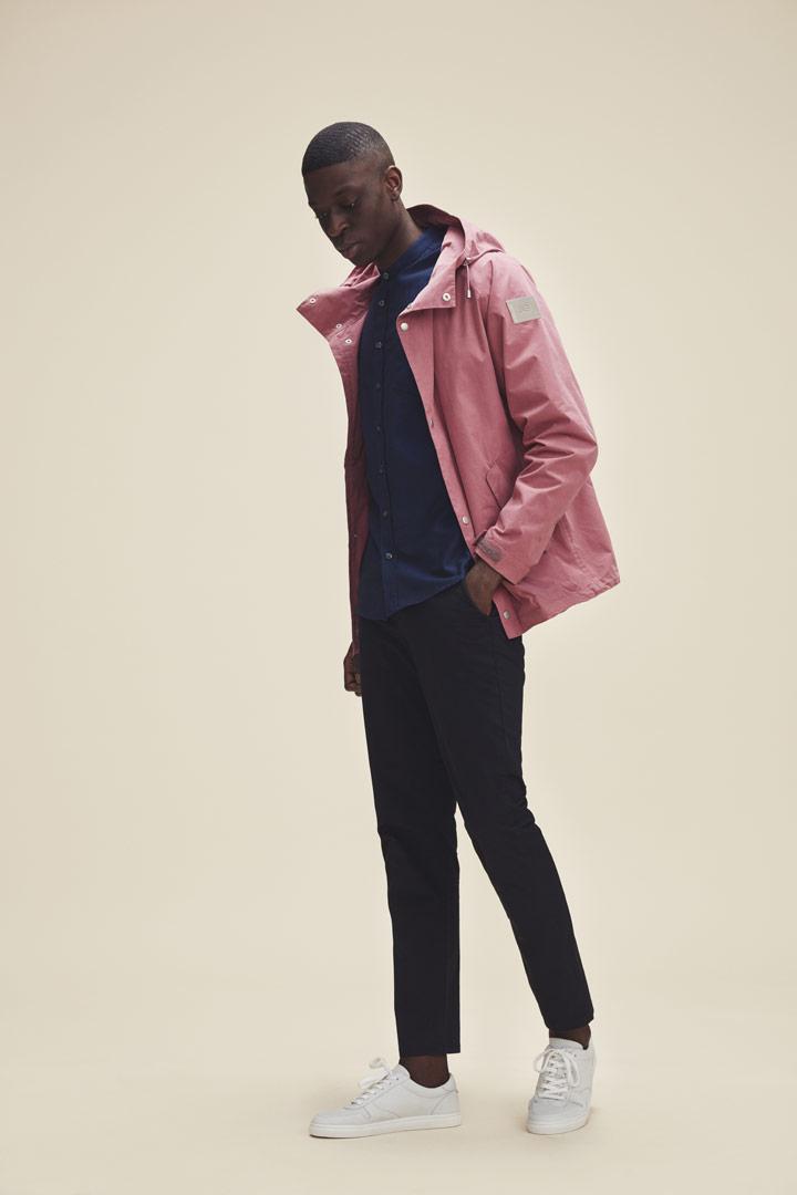 Makia — jarní pánská růžová bunda s kapucí — jaro/léto 2019