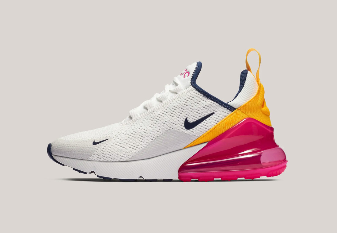 Nike Air Max 270 — bílé, oranžové, růžové — dámské — sneakers — tenisky — Airmaxy