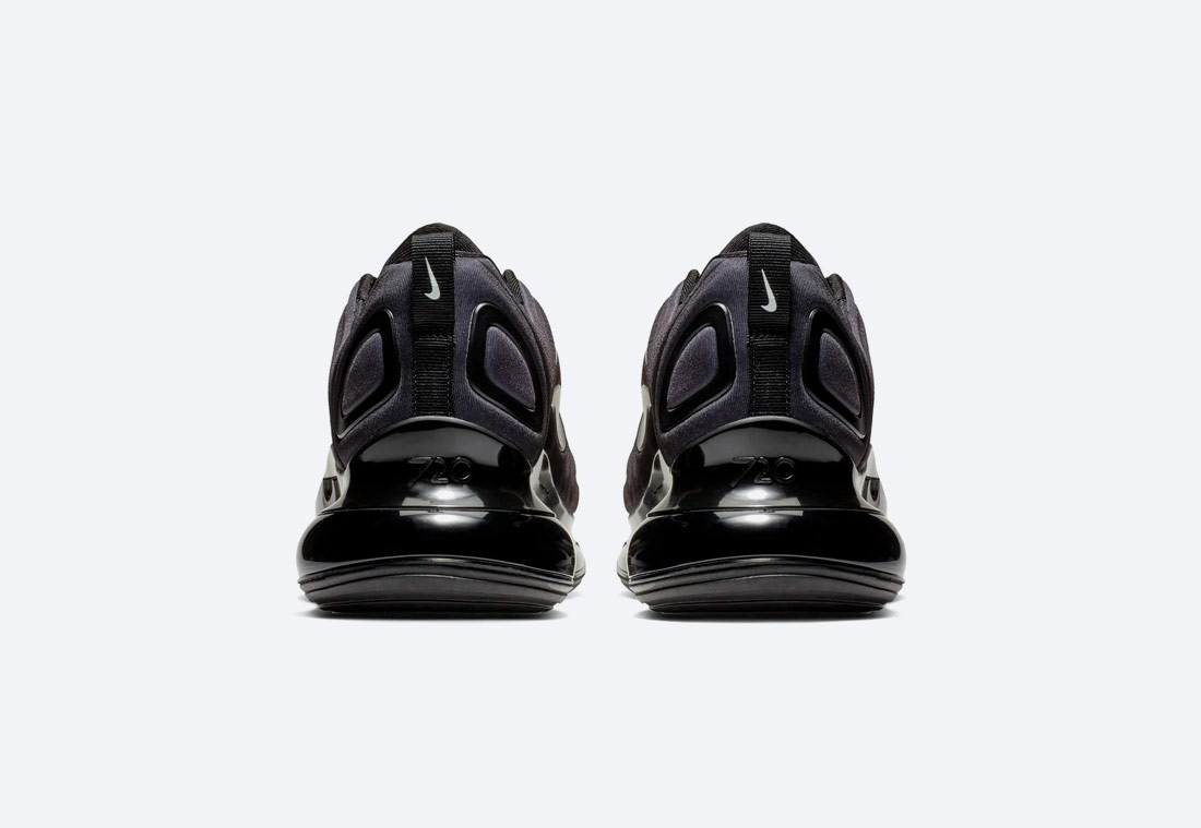 Nike Air Max 720 — černé, antracitové — boty — dámské — pánské — black sneakers — zadní pohled