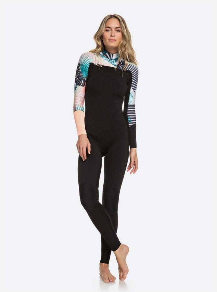 Roxy — Pop Surf 2019 — dámská neoprenová surfařská kombinéza — černá s barevným rostlinným vzorem — black wetsuit