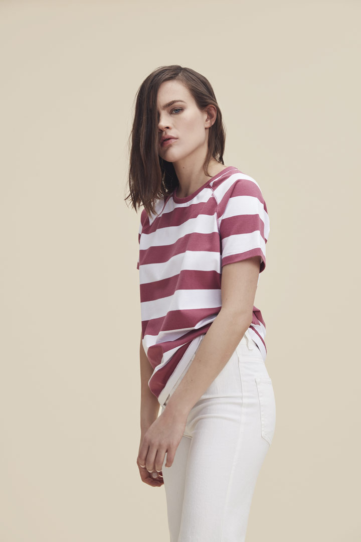 Makia — pruhované tričko — bílo-červené — dámské — jaro/léto 2019