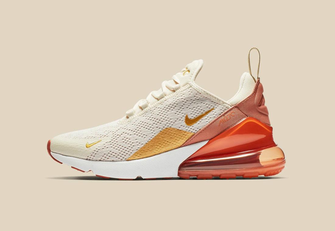 Nike Air Max 270 — béžové, oranžové — dámské — sneakers — tenisky — Airmaxy