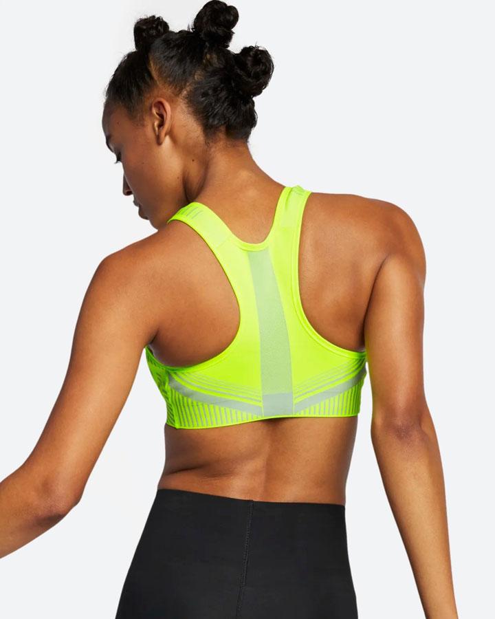 Nike FE/NOM Flyknit Bra — sportovní podprsenka — křiklavě žlutá — vysoká opora — women's bra
