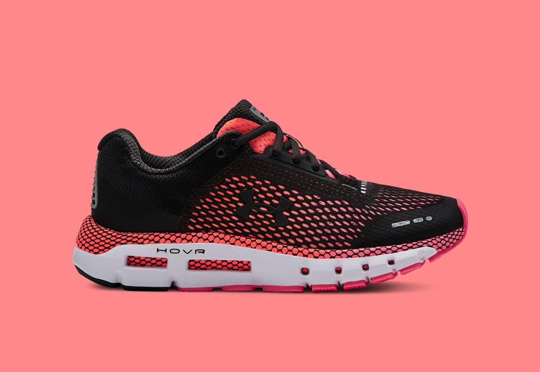 Under Armour HOVR Infinite — běžecké boty — tenisky — růžové (Jet Gray/Mojo Pink) — dámské — running shoes