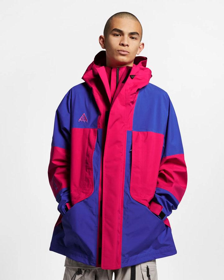 Nike ACG GORE-TEX® — jarní outdoorová bunda s kapucí — fialová, červená — pánská — jaro 2019