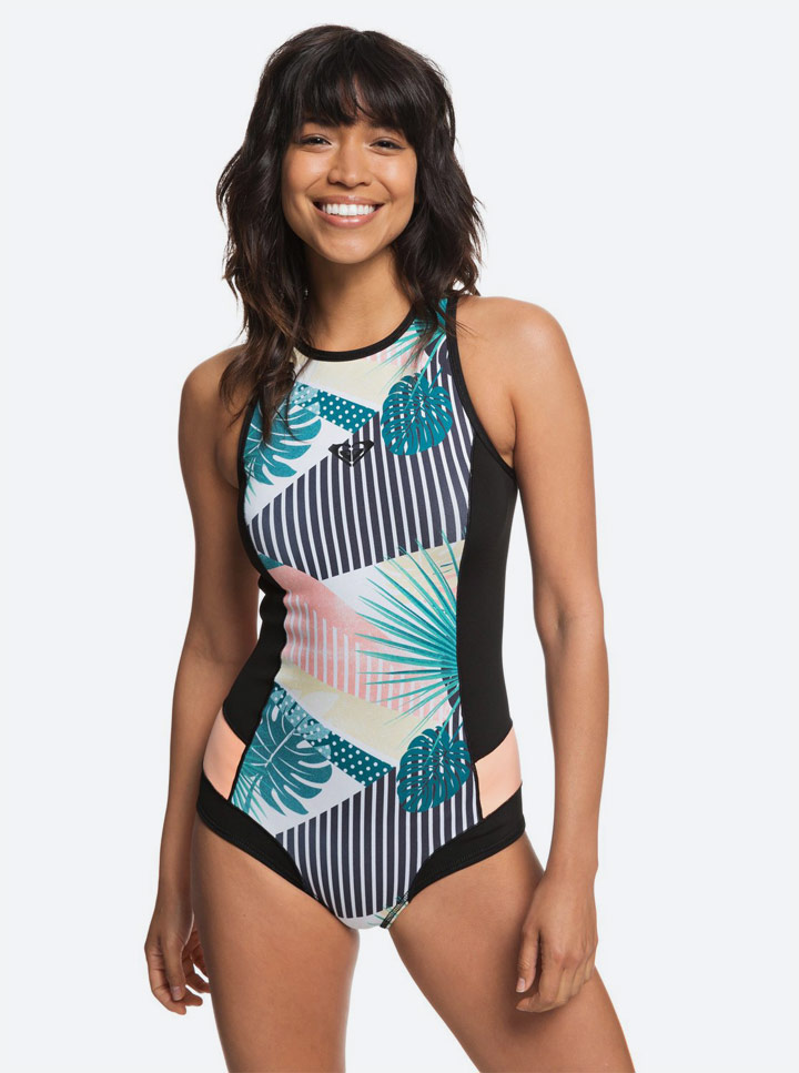 Roxy — Pop Surf 2019 — jednodílné plavky — dámské — dámské — černé s barevnými rostlinnými motivy — swimsuit