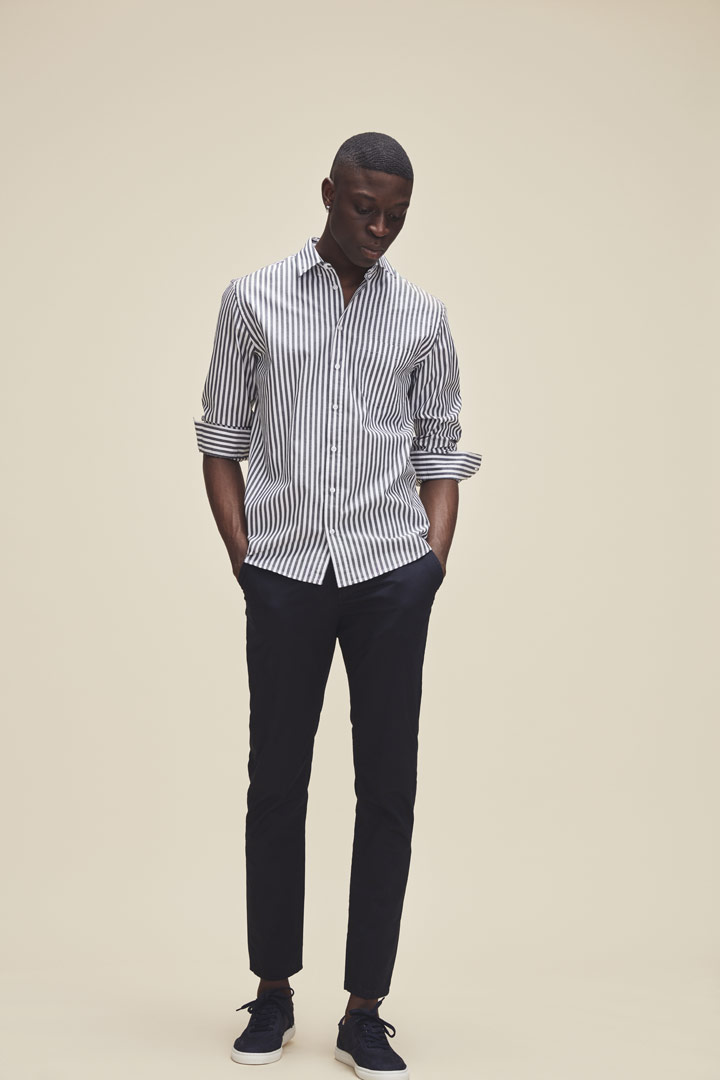 Makia — proužkovaná košile — pánská — černo-bílá — jaro/léto 2019