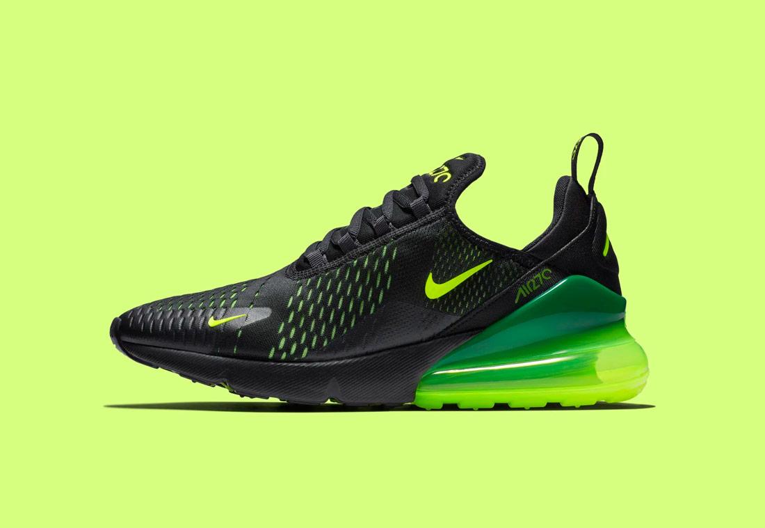 Nike Air Max 270 — žluto-zelené, černé — pánské — sneakers — tenisky