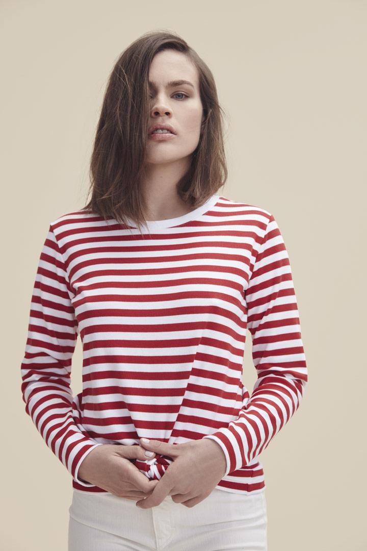 Makia — proužkované tričko s dlouhými rukávy — bílo-červené — dámské — jaro/léto 2019