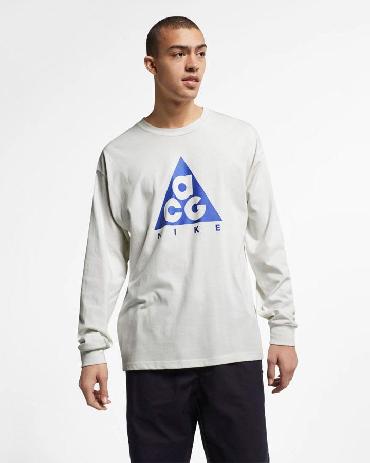 Nike ACG — tričko s potiskem s dlouhými rukávy — bílé — pánské, dámské — jaro 2019