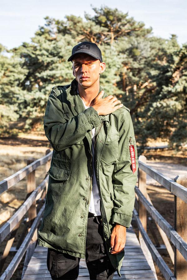 Alpha Industries — dlouhá plátěná bunda bez kapuce — pánská — zelená (army green)