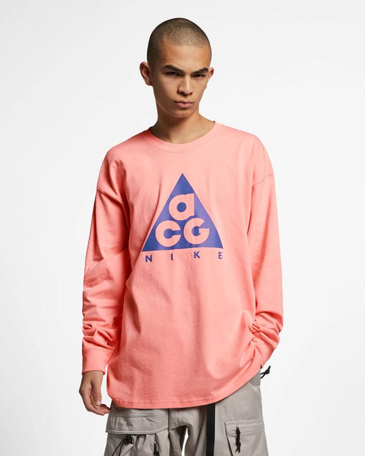 Nike ACG — tričko s potiskem s dlouhými rukávy — růžovo-oranžové — pánské, dámské — jaro 2019