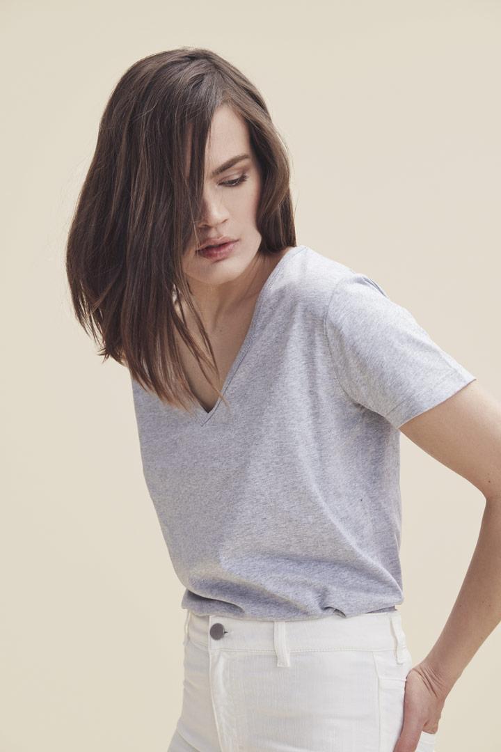 Makia — šedé melírové tričko s krátkými rukávy — dámské — jaro/léto 2019