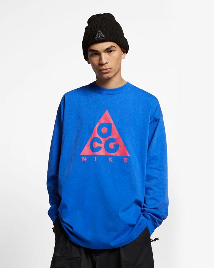 Nike ACG — tričko s potiskem s dlouhými rukávy — modré — pánské, dámské — jaro 2019
