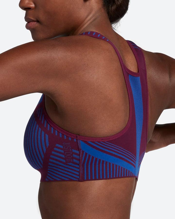 Nike FE/NOM Flyknit Bra — sportovní podprsenka — modrá, fialová — vysoká opora — women's bra