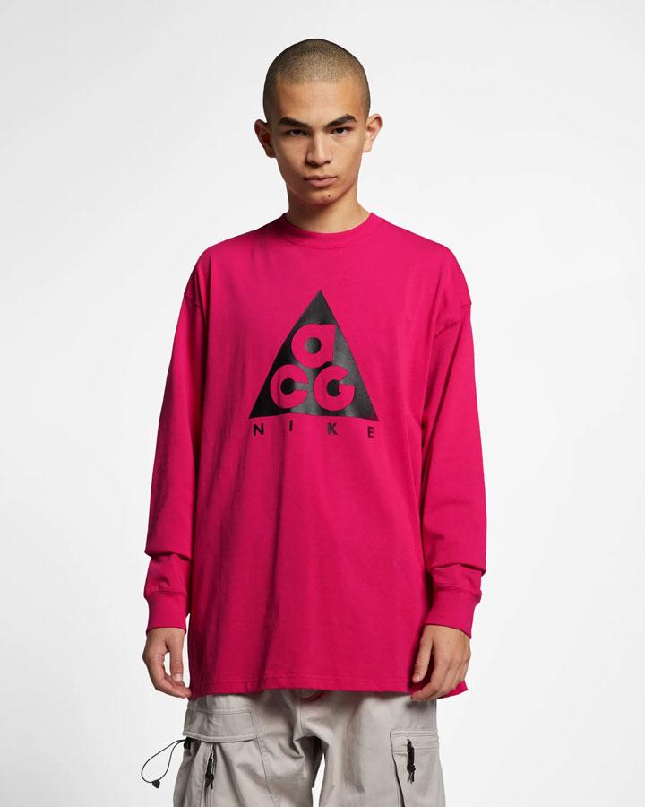 Nike ACG — tričko s potiskem s dlouhými rukávy — červené — pánské, dámské — jaro 2019