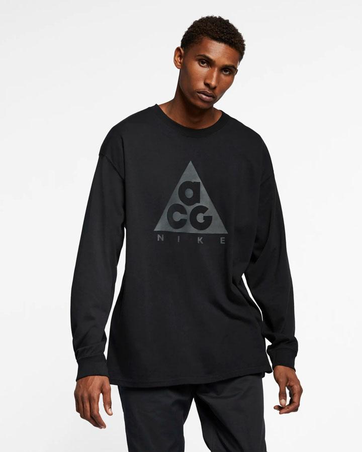 Nike ACG — tričko s potiskem s dlouhými rukávy — černé — pánské, dámské — jaro 2019