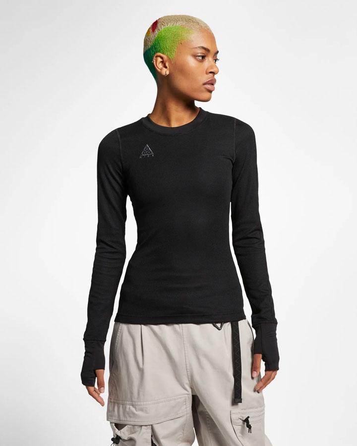 Nike ACG — dámské upnuté tričko s dlouhými rukávy — černé — jaro 2019