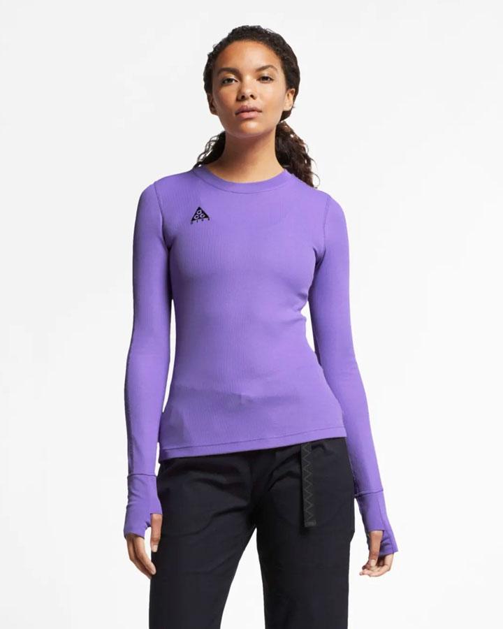 Nike ACG — dámské upnuté tričko s dlouhými rukávy — světle fialové — jaro 2019
