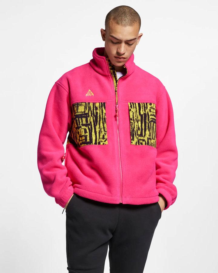 Nike ACG — fleecová bunda bez kapuce se stojáčkem — růžová — pánská — jaro 2019