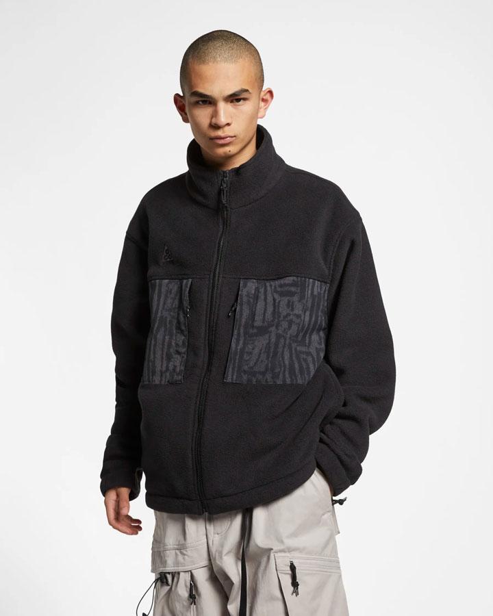 Nike ACG — fleecová bunda bez kapuce se stojáčkem — černá — pánská — jaro 2019