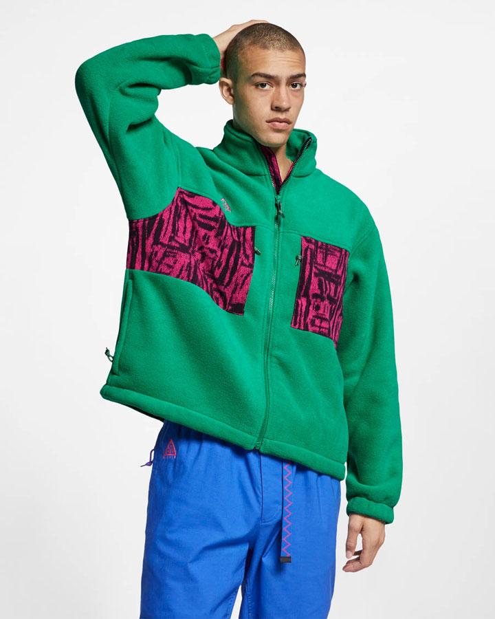 Nike ACG — fleecová bunda bez kapuce se stojáčkem — zelená — pánská — jaro 2019
