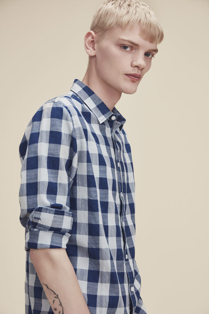 Makia — modrá kostkovaná košile s dlouhými rukávy — pánská — jaro/léto 2019
