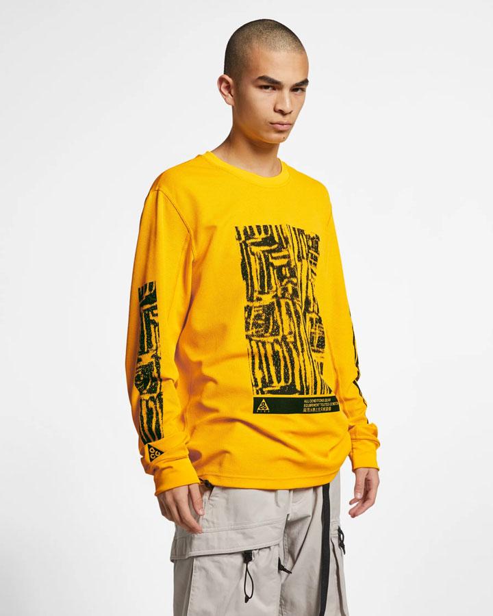 Nike ACG — tričko s potiskem s dlouhými rukávy — žluté — pánské — jaro 2019