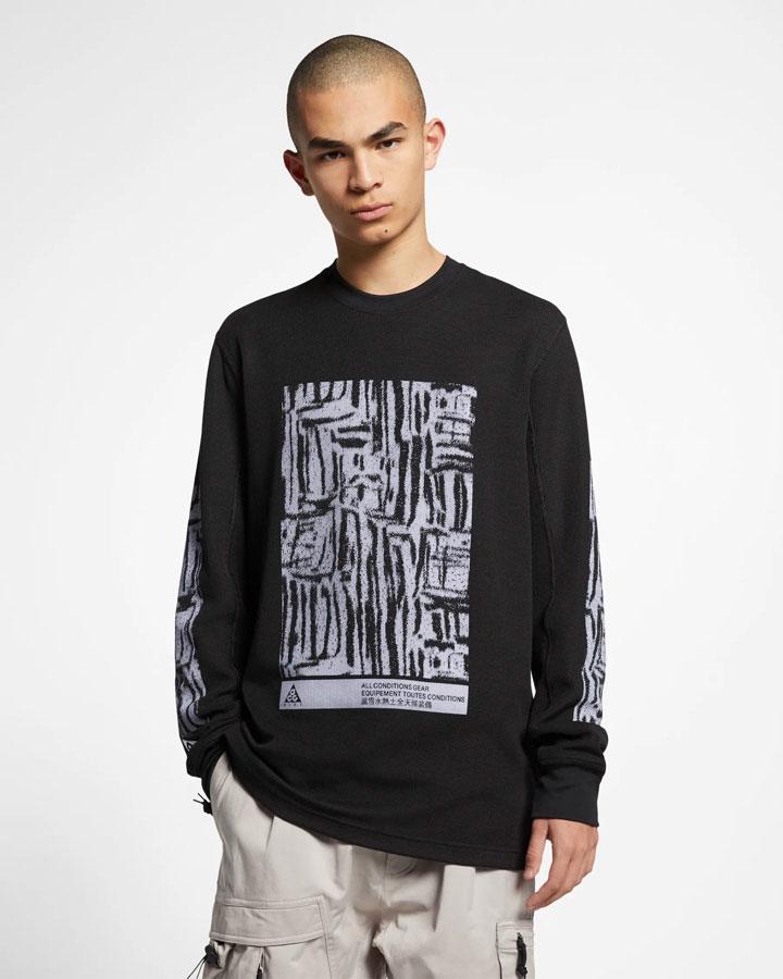 Nike ACG — tričko s potiskem s dlouhými rukávy — černé — pánské — jaro 2019