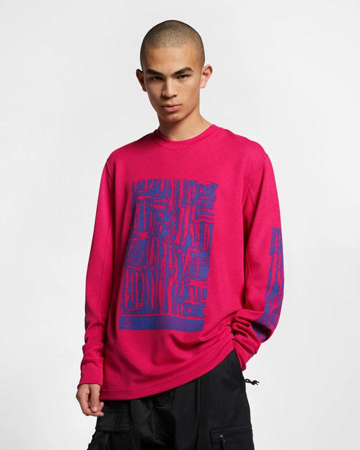 Nike ACG — tričko s potiskem s dlouhými rukávy — červené — pánské — jaro 2019