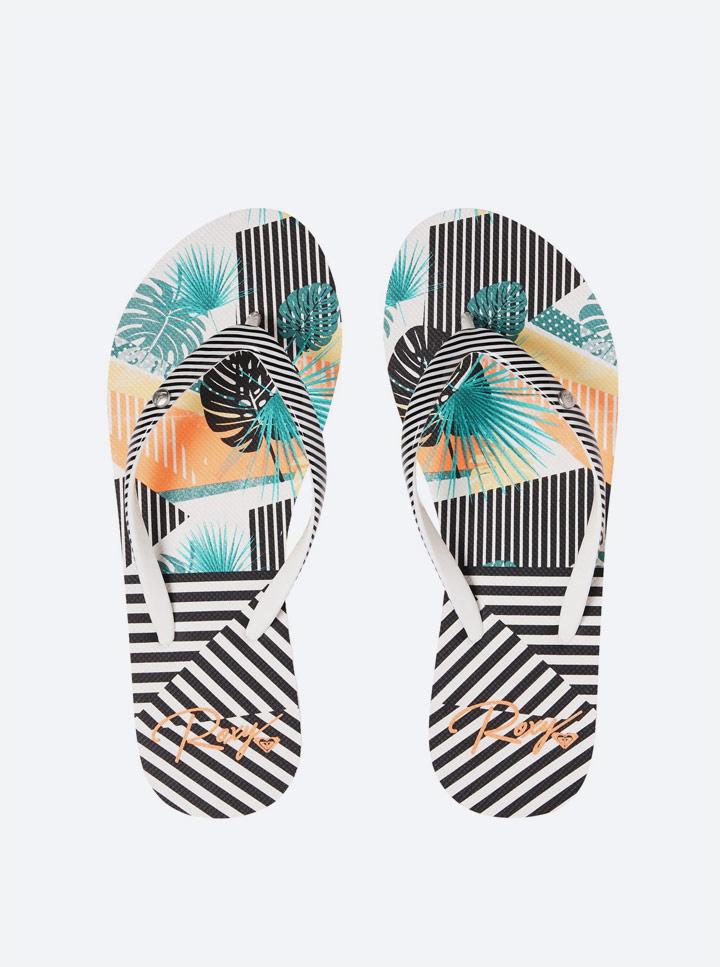 Roxy — Pop Surf 2019 — plážové žabky — pantofle — barevné — proužkované