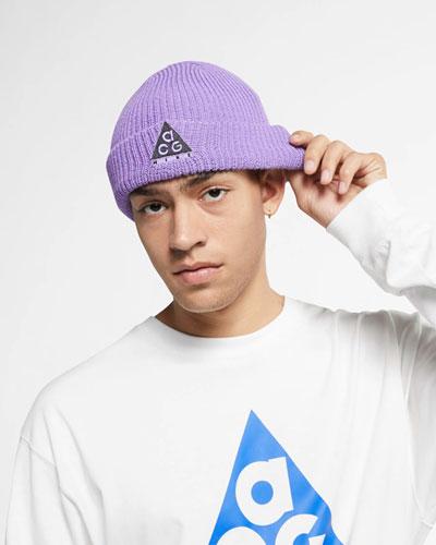 Nike ACG — pletená čepice — fialová — jaro 2019