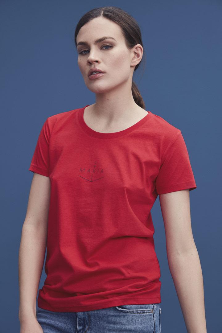 Makia — červené tričko s krátkými rukávy — dámské — jaro/léto 2019