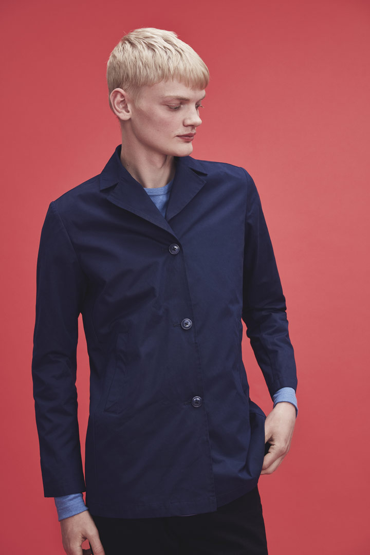 Makia — modrá jarní bunda s límcem — pánská — jaro/léto 2019
